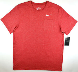 Nike Red Heather T Shirt Pocket Tee Running Gym Casual Athletic Cut Men's Large $13.00
