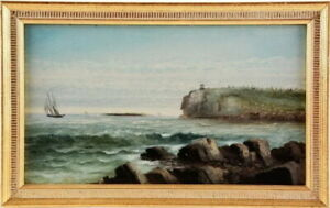 George Hathaway Owls Head Maine Oil on Board Lighthouse Painting Free Shipping $1099.99