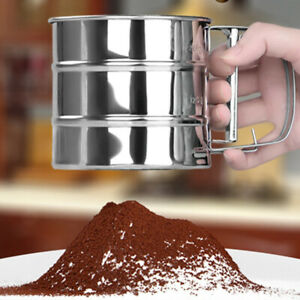 Cup Manual Sifter Powder Sieve Flour Sifter Sieve Tool Made of Stainless Steel
