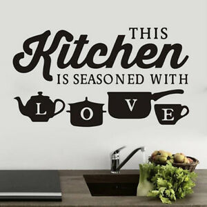 Restaurant Kitchen Love Wall Art Stickers Removable Decals Home Decor AL