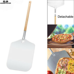 12quot; x 14quot; Blade Aluminum Pizza Peel Paddle with Detachable Wooden Handle Spatula