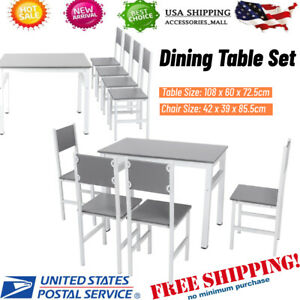 Elegant Dining Table with 4 Chairs Set Living Room Furniture Household Supplies
