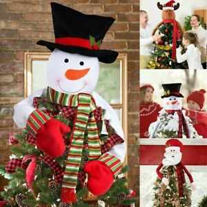 Christmas Tree Top Topper Cover Snowman Hat Xmas Tree Ornaments Xmas Home Decor