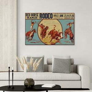 Vintage Rodeo Poster Red Horse Ranch No Frame $16.99