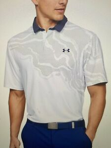 NEW SUMMER 2020 UNDER ARMOUR $75 MENS ISO CHILL WHITE POLO GOLF SHIRT Large $22.50