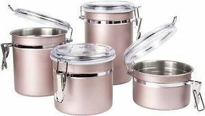 Creative Home 50259 4-Piece Stainless Steel Canister,Container Set,Air Tight Lid
