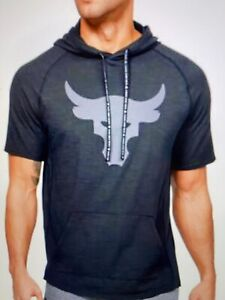 Under Armour Men's Project Rock Charged Cotton Short Sleeve Hoodie, Black Large $46.99
