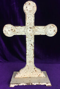 Antique Victorian Garden Art Cast Iron Shabby Cross Cottage Pet Cemetary Goth $79.99