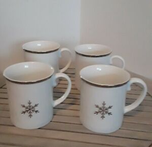 NWT ClassicHome Target TRADITIONAL HOLIDAY Porcelain Mug Set ×4 Silver Snowflake