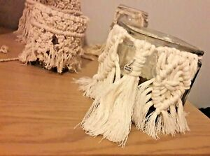 Macrame Handmade Decor Jar with coffee beans and aromatic tealights