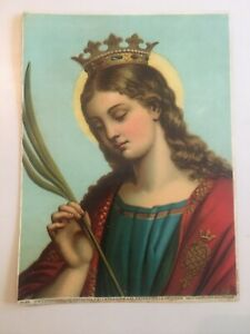 Antique ST. CATHERINE 19th Century German Chromolithograph Print $9.99