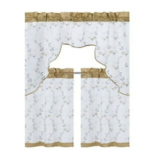 Karlie 3 Pieces Basic Rod Pocket Embroidered Window Curtain Panels