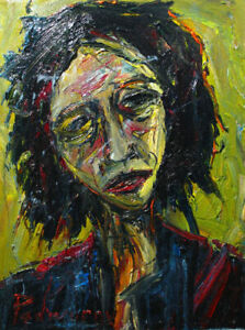 2 FT Tall MODERN ORIGINAL OIL█PAINTING█VINTAGE█IMPRESSIONIST█ART SIGNED ABSTRACT $375.00