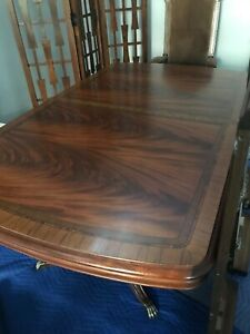 Thomasville Mahogany Double Pedestal Claw Foot Dining Table