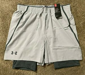 New! Under Armour UA 2 in 1 Running Shorts 5 Men's Size Large L Nice! $17.00