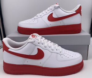 Nike Air Force 1 Low White University Red Midsole CK7663 102 Mens Size $109.97