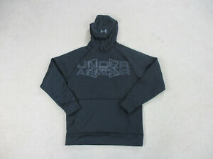 Under Armour Sweater Adult Small Black Gray Hoodie Hooded Pullover Mens * $18.88