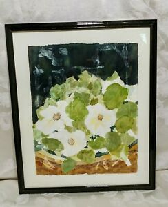 Original Watercolor Framed Painting Signed GENE White Flowers 18 1 2quot; x 15 1 4quot; $35.00