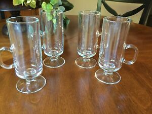 Four (4) Latte Or Irish Coffee Glass Mugs Low Handles Stemmed Footed  6 1/4