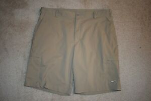 NIKE GOLF DRI FIT Men's Flat Front Poly Spandex Cargo Shorts Khaki Size 36 $7.99