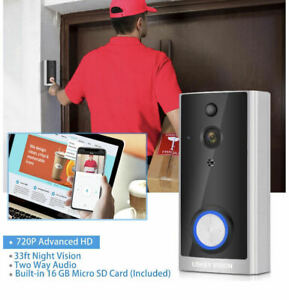 WiFi Video Doorbell Camera, Wireless Smart Door Camera with Motion Detection
