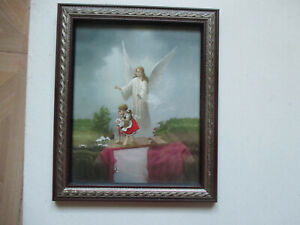 Vintage Guardian Angel Watching Over Children On Bridge Religious Framed Print