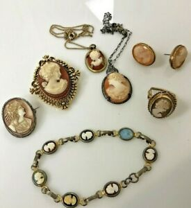 Estate Lot Cameos Brooches Pendants Earrings Ring Bracelet Shell