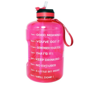 BuildLife Gallon Water Bottle with Motivational Time Marker 1 Gallon Pink