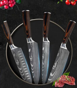 4 Piece Japanese Kitchen Knives Set Damascus Pattern Stainless Steel Chef Knife