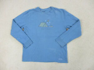 Life Is Good Shirt Adult Medium Blue Yellow Good In Tent Long Sleeve Mens A57*