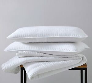 3 Piece Pre Washed Channel Cross Stitch Embroidery Quilt Bedspread Set White $38.99