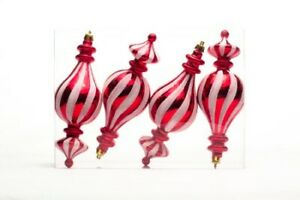 4 Pack 6quot; Red and White Finial Candy Collection Christmas Holiday Ornament Set $6.50