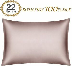 22 Momme100% Pure Mulberry Smooth Silk Pillowcase Both Sides Natural Silk 1pcs