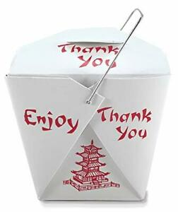 Pack of 25 Chinese Take Out Boxes Pagoda 16 oz Pint Size Party Favor and Food P
