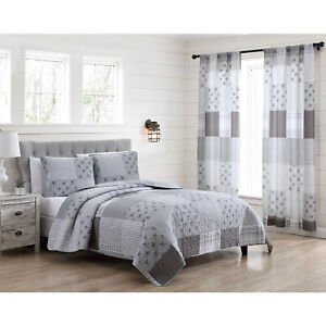Full Queen or King Farmhouse Patchwork Quilt Bed Set or Window Curtains Grey
