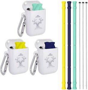 Reusable Straws Silicone Collapsible Straw With Case 3 Pack Portable Drinking