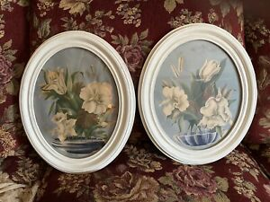 Vintage Painting Floral Oval Watercolor Acrylic? Signed $40.00
