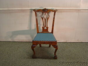 61853:Bench made Solid Tiger Maple Chippendale Ball amp; Claw Foot Side Chair