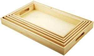 Multicraft Imports WS410 5 Piece Paintable Wooden Trays with Handles 6 5 8