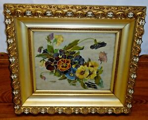 Lovely Antique Painting On Panel Flowers amp; Butterfly $212.49