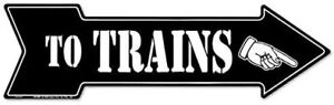 To Trains Right Metal Tin Sign 20in x 6in $14.90