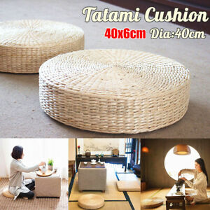 US 16quot; Round Pouf Tatami Floor Cushion Yoga Mat Natural Straw Meditation Chair