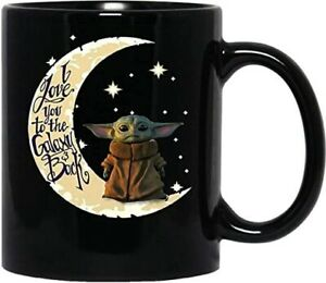 Baby Yoda I Love You To The Moon And Back Black Mug FREE SHIPPING