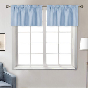 BGment Rod Pocket Valances Curtain for Kitchen 42 x 18 Inch 2 Panels Spa Blue