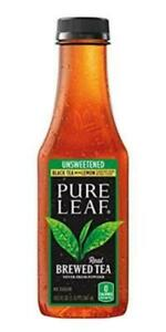 Pure Leaf Iced Tea Unsweetened Black Tea with Lemon 18.5oz Bottles 12 Pack