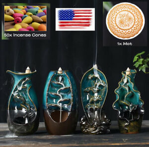 Ceramic Backflow Incense Cone Burner Holder Glaze Waterfall 50x Cones Gift US