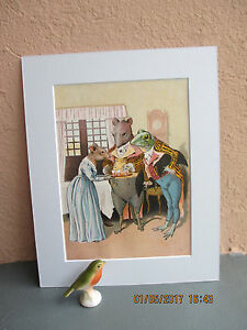 antique lithograph of Frog Miss Mouse and Rat 1893 $15.50