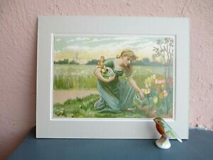 antique chromolithograph of woman and Spring tulips circa 1890 $22.50