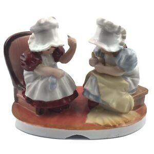 Vintage Royal Bayreuth Sunbonnet Babies Wednesday Mending Sewing Large Figurine $10.99