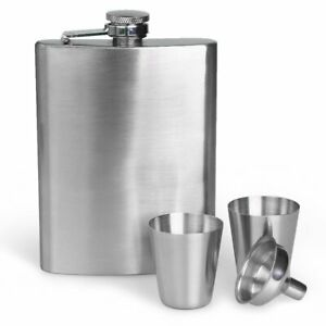8oz Stainless Steel Whisky Liquor Hip Flask amp; Funnel with 2Cups Set Gift Box New